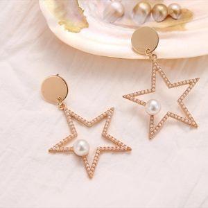 NEW Dainty pearl embellished star dangle earrings